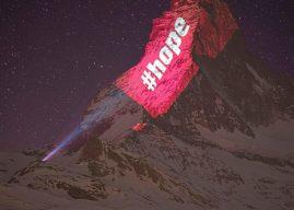 Projeção no Matterhorn pede para moradores ficar em casa e manter a esperança